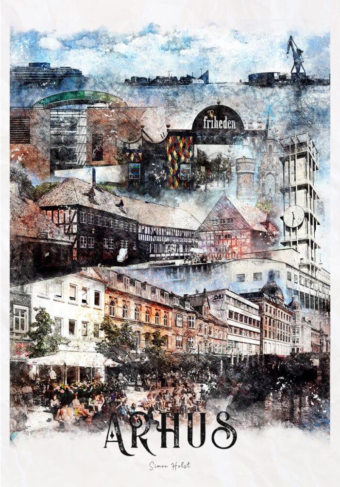 Århus kort/plakat