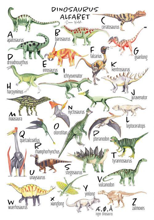 Alfabet plakat dinosaur