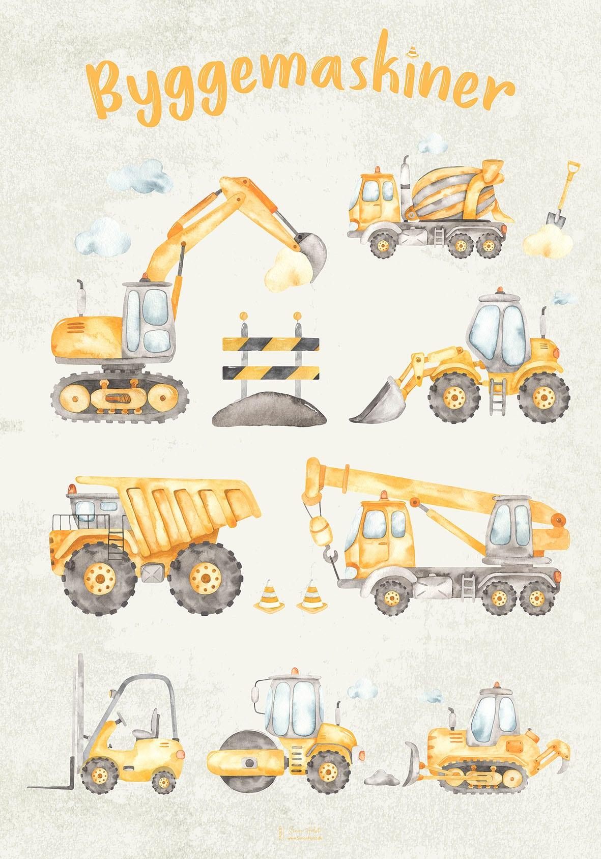 Plakat med byggemaskiner